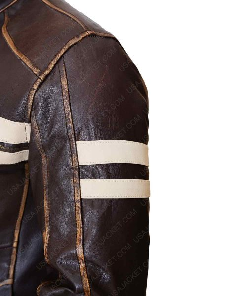 Mens White Stripes Dark Brown Cafe Racer Jacket