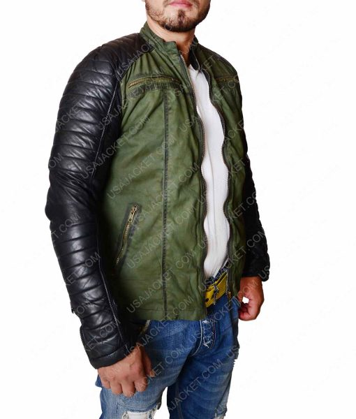 Mens Khaki Leather Sleeves Cafe Racer Jacket