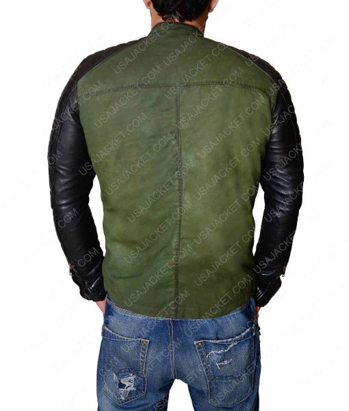Khaki Green Vintage Leather Sleeves Jacket
