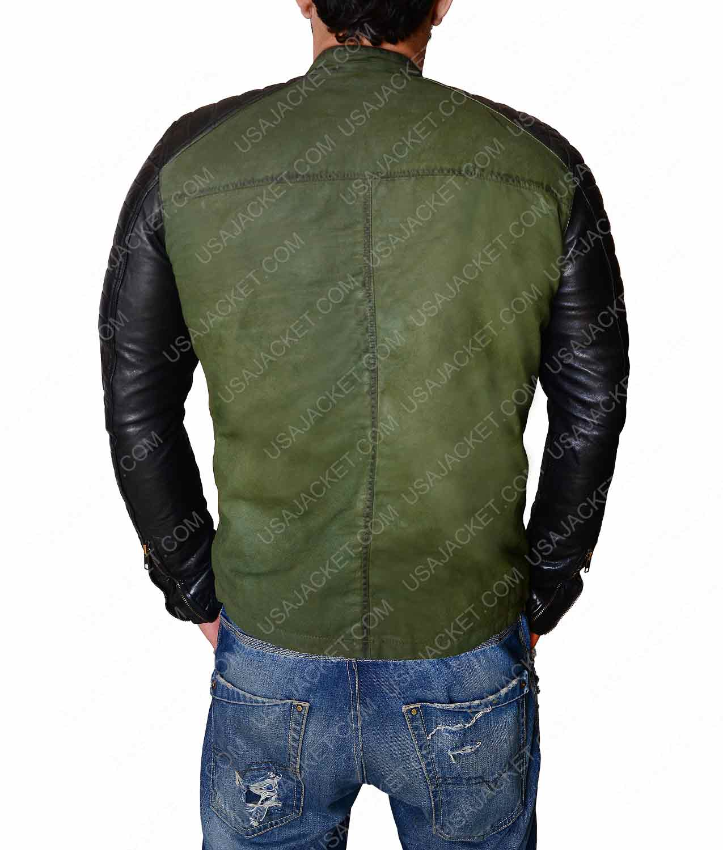 fc4e8e3f09f Mens Leather Sleeves Khaki Vintage Biker Jacket - USA Jacket