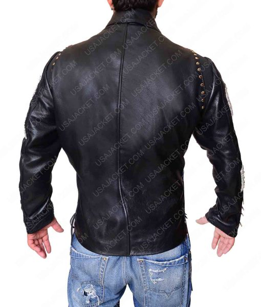 Mens Studded Black Motorcycle Leather Jacket