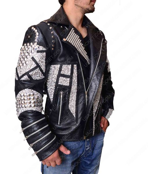 Silver Studded Black Motorcycle Jacket