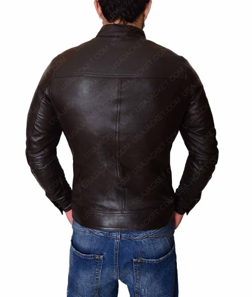Dark Brown Multipockets Leather Jacket For Men