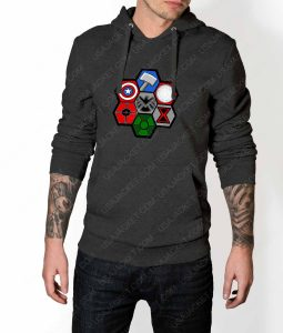 Mens Team Avengers Assemble Grey Hoodie