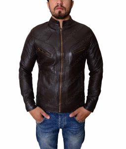 Slimfit Multipockets Mens Brown Leather Jacket