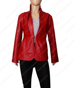 Red Tailback Leather Jacket for Women