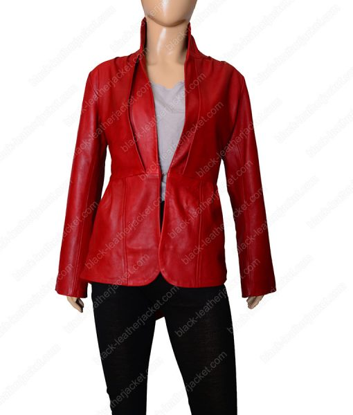 Red Leather Tailback Blazer