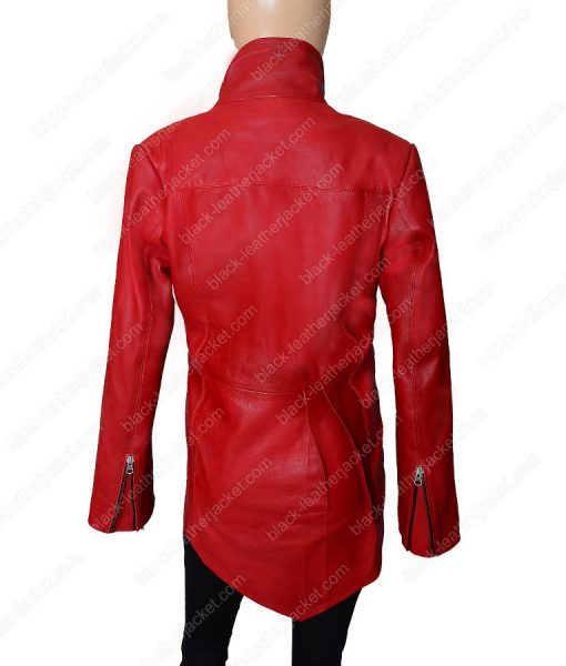 Womens Red Leather Tailback Jacket