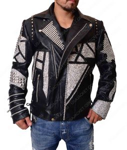 Silver Studded Jacket in Black Leather