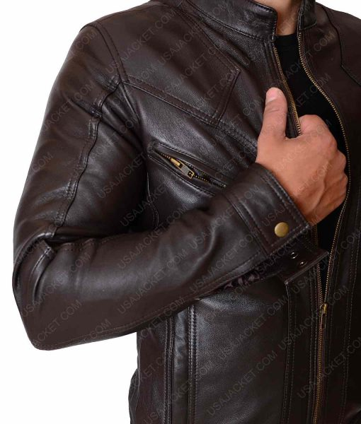 Mens Stylish Slimfit Multipockets Brown Leather Jacket