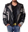 Studded Black Motorcycle Leather Jacket