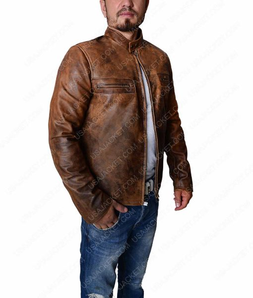 Distressed Brown Tom Cruise Obvilion Premier Jacket