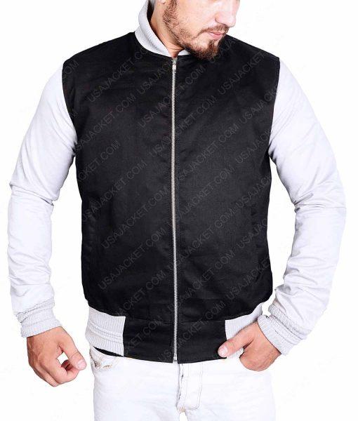 White Sleeves Black Varsity Cotton Jacket