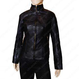 Women lambskin leather Mandarin Collar Jacket