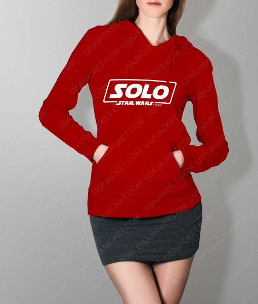 Women Solo A Star Wars Story Logo Red Hoodie