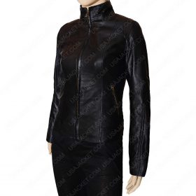 Black leather Women Mandarin Collar Jacket