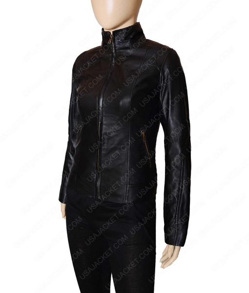 Black leather Women Mandarin Collar Jacket