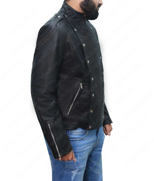 Mens Black Motorcycle Leather Jacket