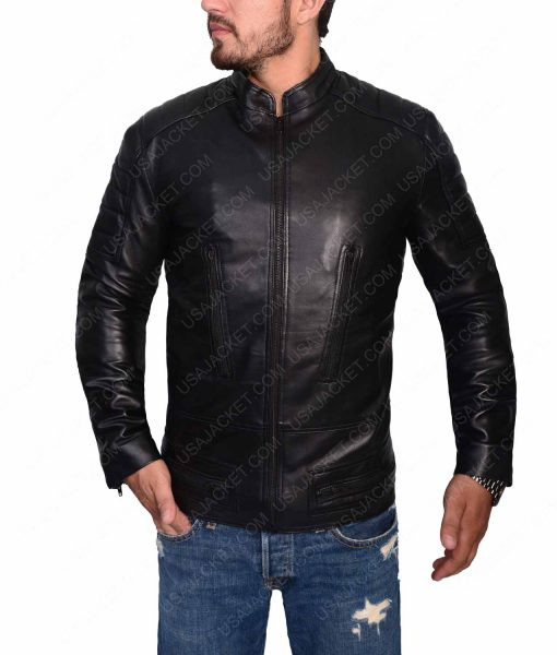Black Slimfit Cafe Racer Jacket For Men