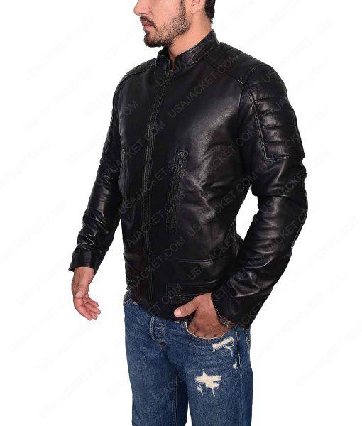 Black Slimfit Cafe Racer Jacket For Men