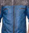 Blue and Gray Rico Rodriguez Leather Jacket