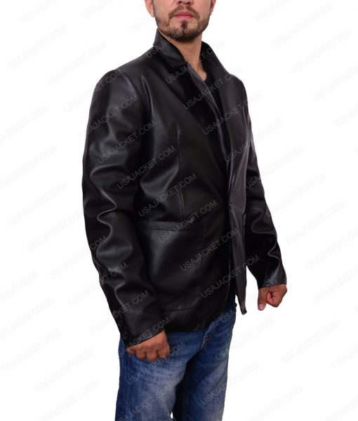 Black Blazer Leather Jacket For Men
