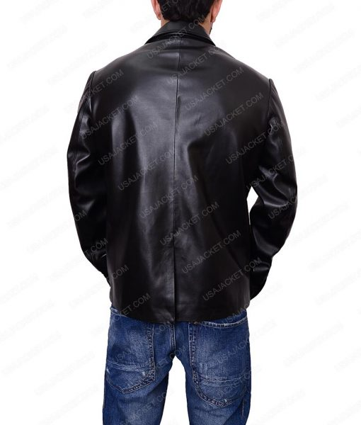 Casual Black Blazer Leather Jacket For Men