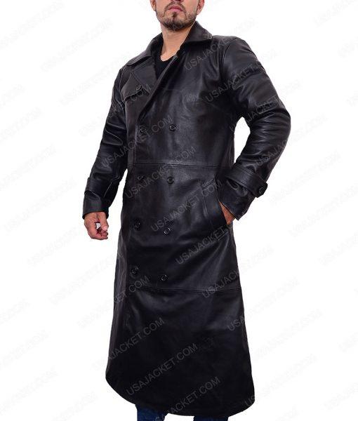 Douglas Quaid Total Recall Colin Farrel Black Leather Trench Coat