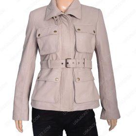 Womens Four Pocket Stone Leather Coat