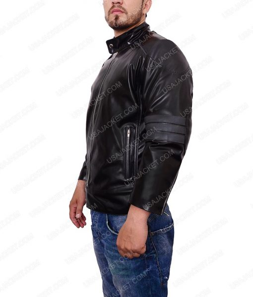 Dan Ewing Power Rangers RPM Dillon Black Café Racer Leather Jacket