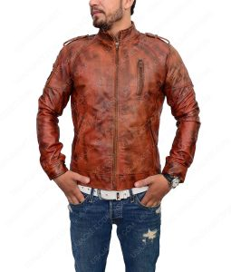Mens Distressed Brown Slimfit Cafe Racer Leather Jacket