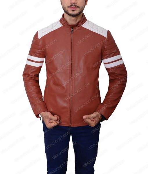 Tyler Durden Fight Club Brad Pitt Mayhem Retro Red Leather Jacket