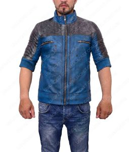 Just Cause 3 Rico Rodriguez Blue and Grey Leather Jacket