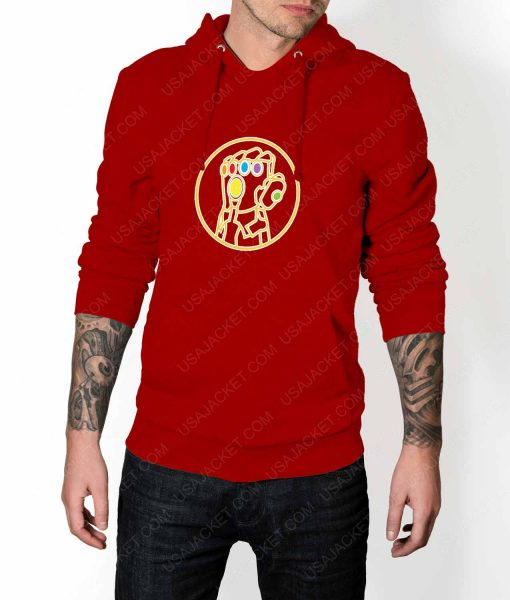 Mens Avengers Infinity War Gauntlet Red Hoodie