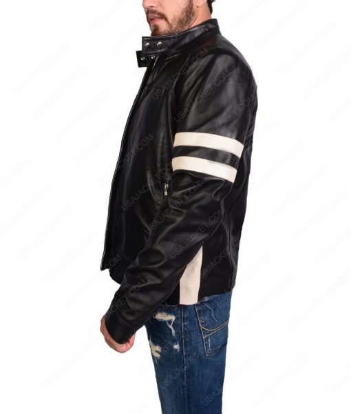 Black Bomber Biker Leather Jacket For Mens
