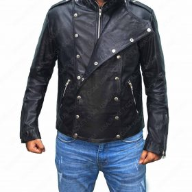 Black Double Brasted Motorcycle Leather Jacket