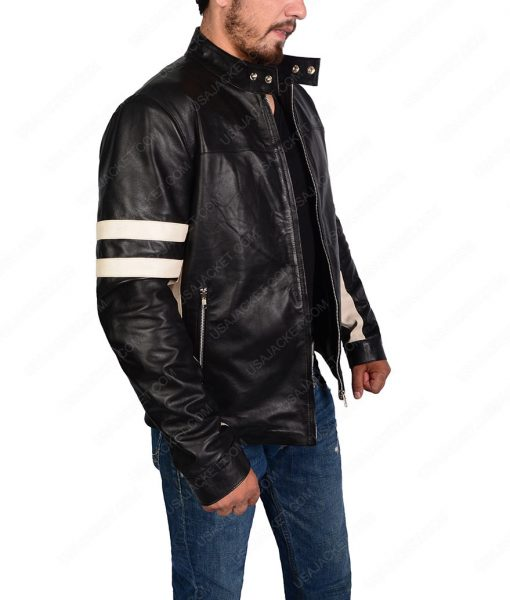 Mens Black Bomber Biker Leather Jacket