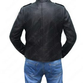 Mens Black Double Breasted Motorcycle Jacket