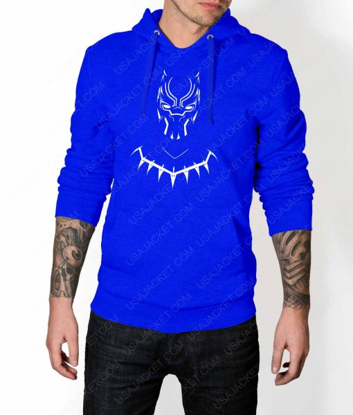 Mens Black Panther Mask Logo Blue Hoodie