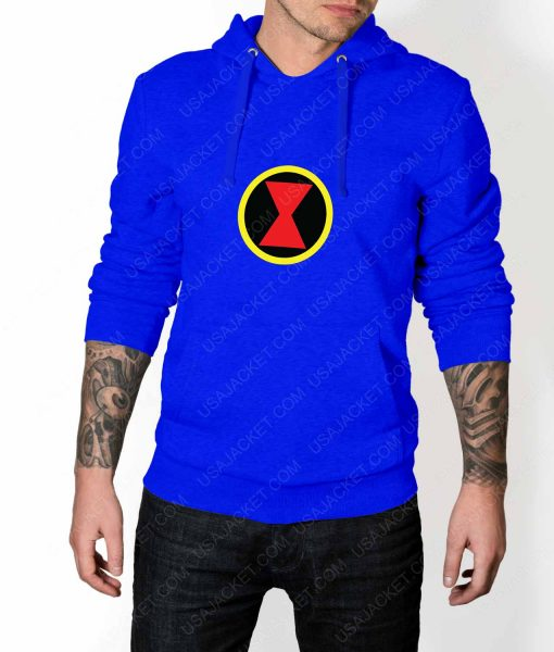 Mens Black Widow Emblem Blue Hoodie