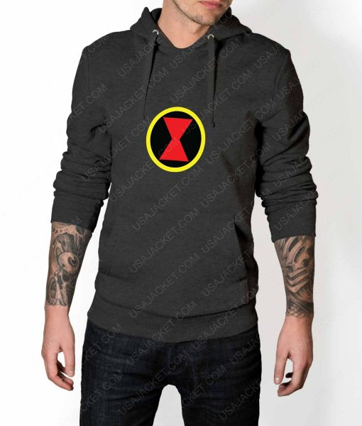 Mens Black Widow Emblem Grey Hoodie
