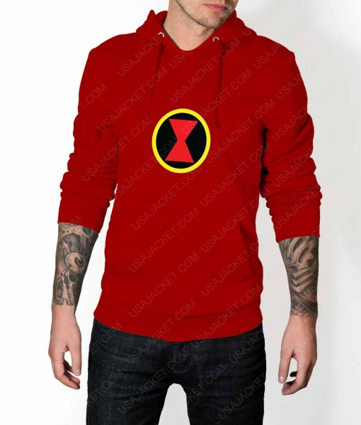 Mens Black Widow Emblem Red Hoodie
