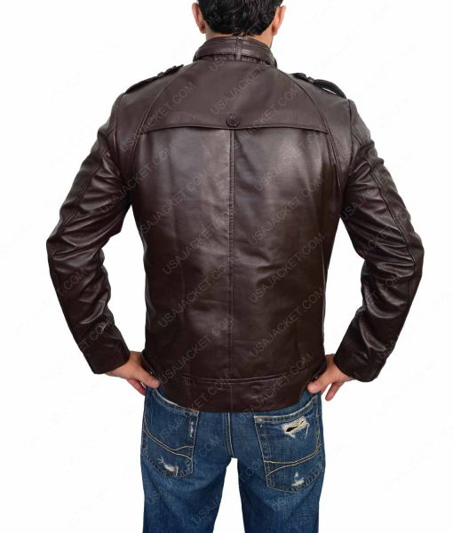 Dark Brown Café Racer Slimfit Leather Jacket For Men