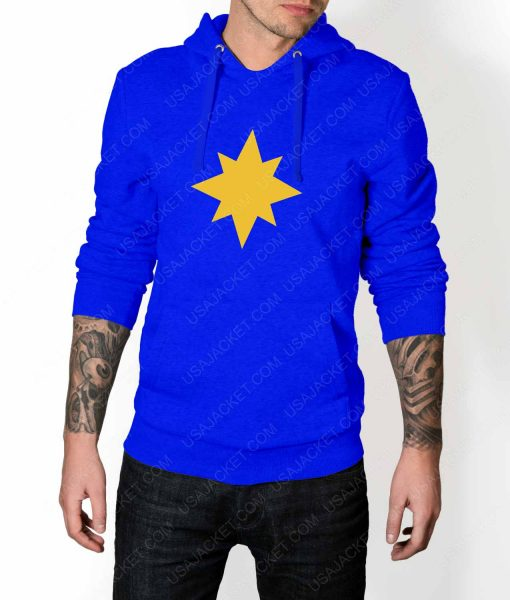 Mens Captain Marvel Star Logo Blue Hoodie