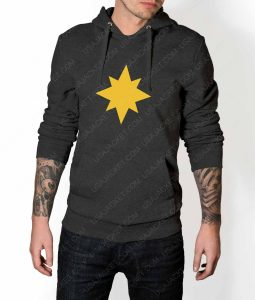 Mens Captain Marvel Star Logo Grey Hoodie