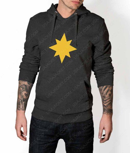 Mens Captain Marvel Star Logo Grey Hoodie