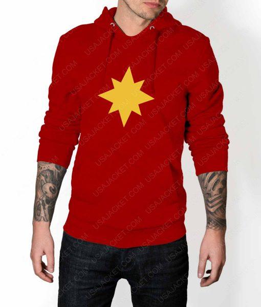 Mens Captain Marvel Star Logo Red Hoodie