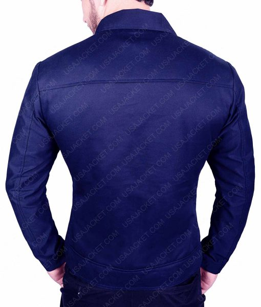 Mens Blue Casual Slimfit Cotton Jacket