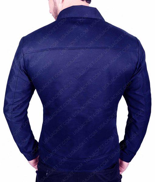 Mens Blue Casual Slimfit Cotton Jacket