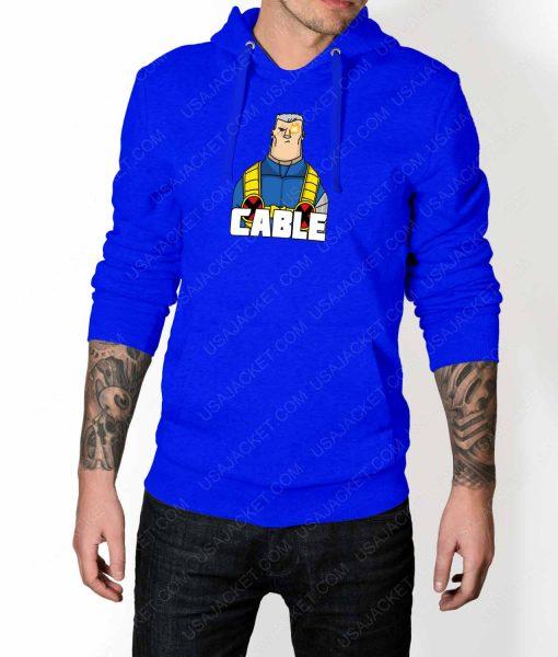 Mens DP2 Cable Blue Hoodie